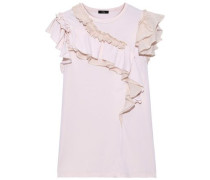 Ruffled Organza-trimmed Cotton And Silk-blend Jersey Top Baby Pink
