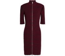 Zip-detailed cutout ribbed-knit mini dress