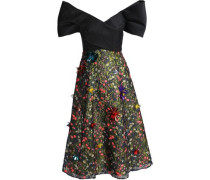 Strapless Embellished Lace Midi Dress Black