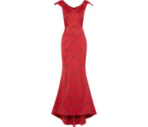 Fluted satin-jacquard gown