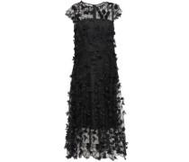 Appliquéd Embroidered Tulle Midi Dress Black