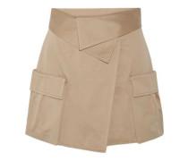Cotton-canvas wrap mini skirt