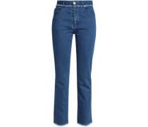 Frayed high-rise straight-leg jeans
