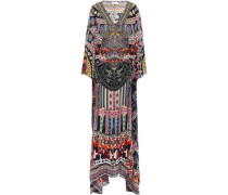 On My Own Cold-shoulder Printed Silk Crepe De Chine Maxi Dress Black Size ONESIZE