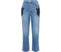 Burke Embellished High-rise Boyfriend Jeans Mid Denim  4