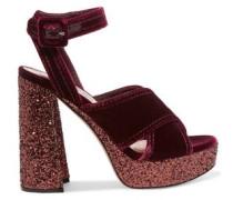 Glitter-trimmed Velvet Platform Sandals Burgundy