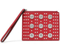 Studded Leather Pouch Claret Size --