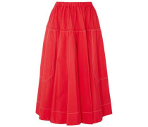 Woman Gathered Cotton-poplin Midi Skirt Red