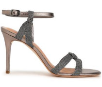 Melanie Metallic Mesh And Leather Sandals Taupe