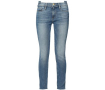 Cropped Faded Mid-rise Skinny Jeans Light Denim  8