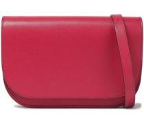 Woman Textured-leather Shoulder Bag Crimson