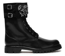 Woman Buckled Embellished Leather And Suede Ankle Boots Black