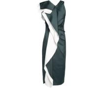 Draped silk-blend midi dress