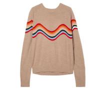 Intarsia merino wool-blend top