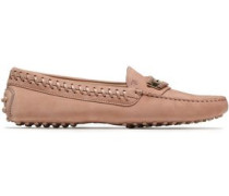 Whipstitched Suede Loafers Pastel Pink
