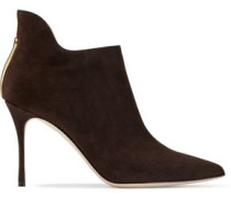 Woman Cutout Suede Ankle Boots Chocolate