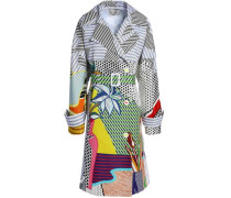 Double-breasted Printed Cotton-blend Coat Multicolor