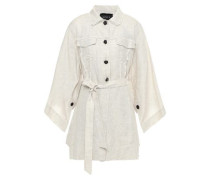 Belted Frayed Linen Jacket Off-white Size 12