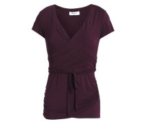 Wrap-effect ruched stretch-jersey top