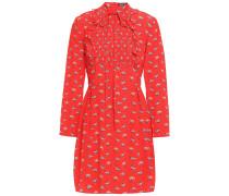 Woman Penny Printed Silk Crepe De Chine Mini Dress Red