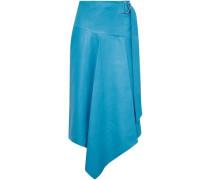 Woman Asymmetric Buckle-detailed Leather Midi Skirt Azure
