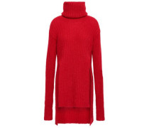Ribbed Mohair-blend Turtleneck Sweater Red