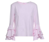 Gabby Fluted Cotton Oxford Blouse Pastel Pink