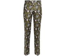 Floral-jacquard Straight-leg Pants Black