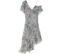 Cavalier asymmetric floral-print silk-georgette dress