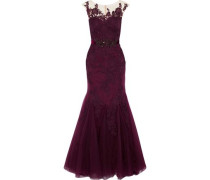 Embellished Tulle And Corded Lace Gown Plum
