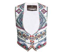 Embellished embroidered canvas vest