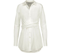 Gathered cotton-poplin shirt