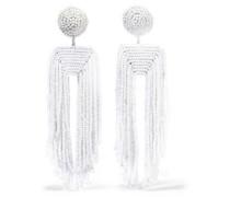 Fringed Beaded Clip Earrings White Size --