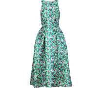 Flared Floral-print Satin-twill Midi Dress Green
