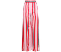 Striped Twill Wide-leg Pants Baby Pink
