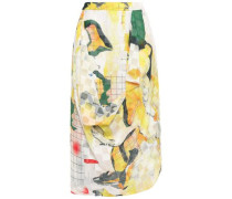 Draped Printed Fil Coupé Chiffon Skirt Yellow