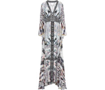 In Her Shoes Embellished Printed Silk Crepe De Chine Maxi Dress Gray