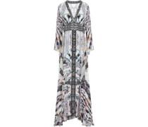 Embellished Printed Silk Crepe De Chine Maxi Dress Gray