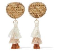 Gold-tone, straw and tassel earrings