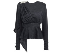 Grace Crystal-embellished Draped Silk-satin Jacquard Top Black