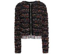Velvet-trimmed Floral-print Tulle Bomber Jacket Black