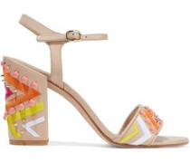 Embellished Leather Sandals Beige
