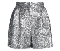 Pleated metallic brocade shorts