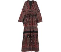 Ruffle-trimmed Printed Silk-chiffon Gown Brick