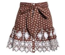 Polka-dot Broderie Anglaise Cotton Mini Skirt Brown