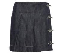 Pleated Embellished Denim Mini Skirt Dark Denim