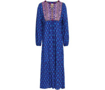 Embroidered Printed Cotton-blend Midi Dress Royal Blue