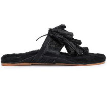 Tasseled Shearling-lined Calf Hair Sandals Black