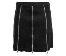 Zip-embellished Denim Mini Skirt Black  6