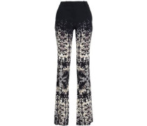 Printed Crepe Straight-leg Pants Black